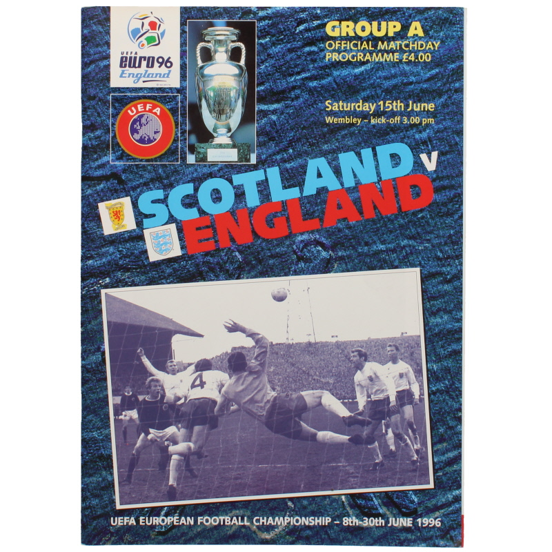 Euro 96 Scotland vs England programme football programme