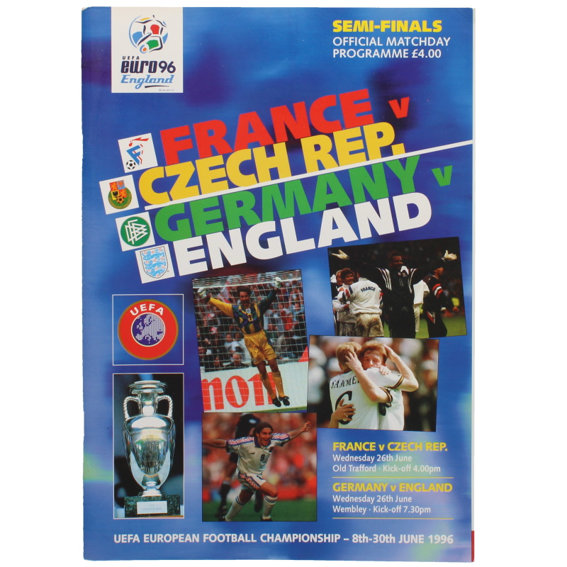 Euro 96 Semi Finals France vs Czech Republic, Germany vs England programme
