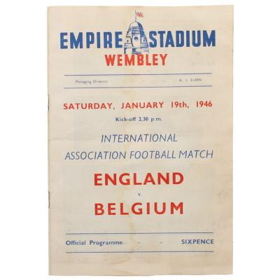 1945-46 England vs Belgium programme