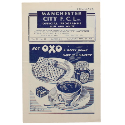 1947-48 Manchester City vs Middlesbrough programme