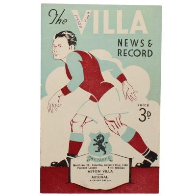 1948-49 Aston Villa vs Arsenal programme