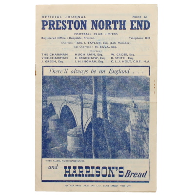 1948-49 Preston North End vs Liverpool programme