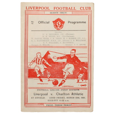 1950-51 Liverpool vs Charlton Athletic programme