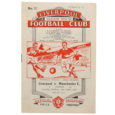 1951-52 Liverpool vs Manchester City programme