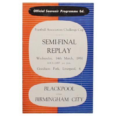 1951 F.A Cup Semi Final Replay Blackpool vs Birmingham City programme