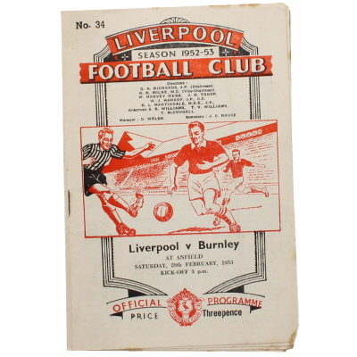 1952-53 Liverpool vs Burnley programme