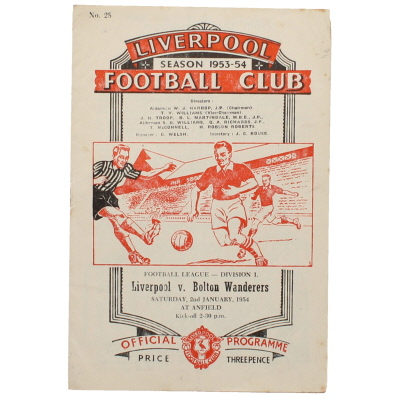1953-54 Liverpool vs Bolton Wanderers progamme