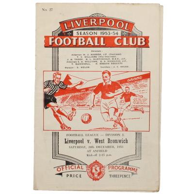 1953-54 Liverpool vs West Bromwich Albion progamme