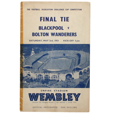 1953 F.A Cup Final Blackpool vs Bolton Wanderers programme
