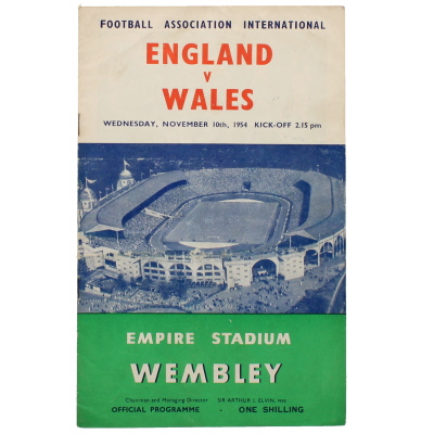 1954-55 England vs Wales programme