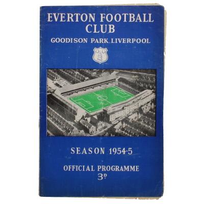 1954-55 Everton vs Arsenal programme
