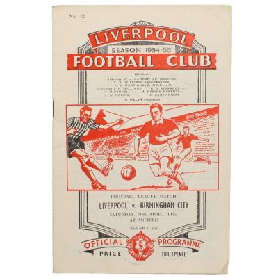 1954-55 Liverpool vs Birmingham City programme