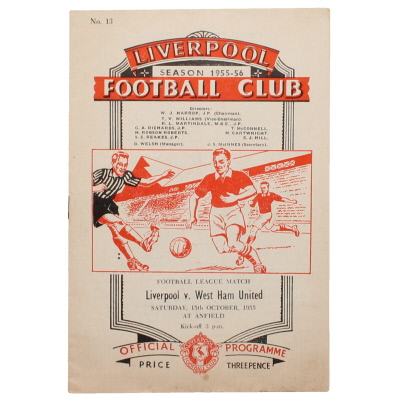 1955-56 Liverpool vs West Ham United programme