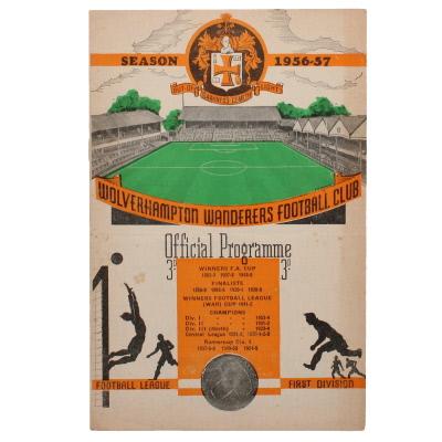 1956-57 Wolverhampton Wanderers vs Borussia Dortmund programme