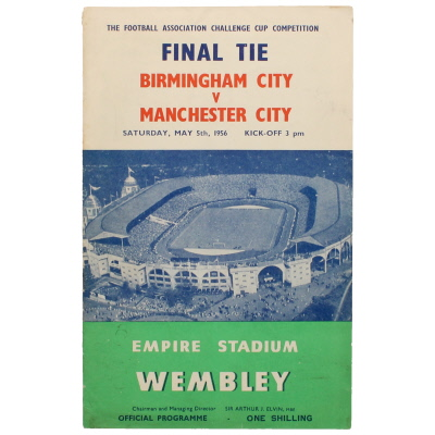 1956 F.A Cup Final Birmingham vs Manchester City programme