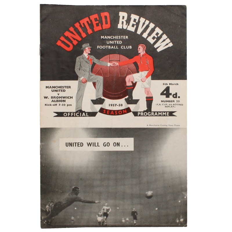 1957-58 Manchester United vs West Bromwich Albion F.A Cup Programme