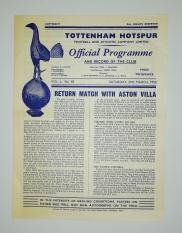 1957-58 Tottenham Hotspur vs Aston Villa programme