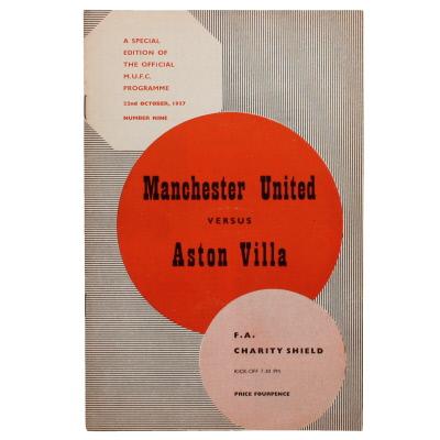 1957 Charity Shield Manchester United vs Aston Villa programme