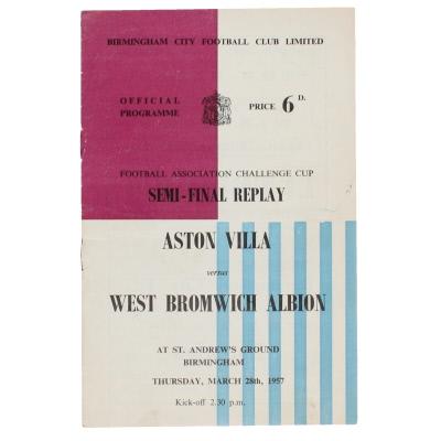 1957 F.A Cup Semi Final Replay Aston Villa vs West Bromwich Albion programme