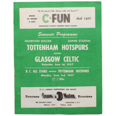 1957 Tottenham Hotspur vs Celtic programme, played at Empire Stadium, Vancouver