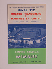 1958 F.A Cup Final Programme, Bolton Wanderers vs Manchester United