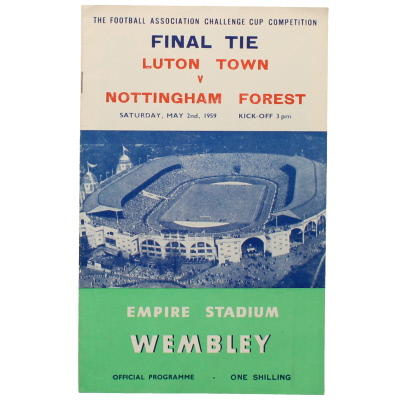 1959 F.A Cup Final Luton Town vs Nottingham Forest football programme