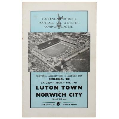 1959 F.A Cup Semi Final Luton Town vs Norwich City programme