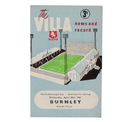 1961 League Cup Semi Final 2nd Leg Aston Villa vs Burnley programme