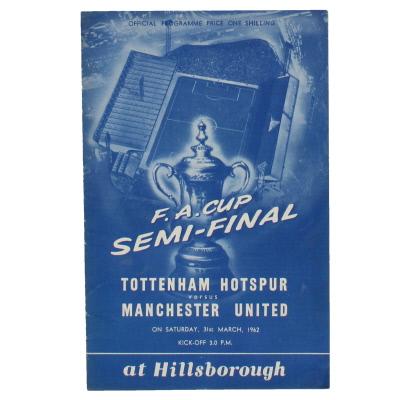1962 F.A Cup Semi Final Tottenham Hotspur vs Manchester United programme