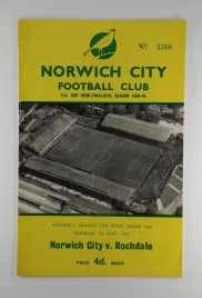 1962 League Cup Final 2nd Leg Norwich vs Rochdale Football Programme