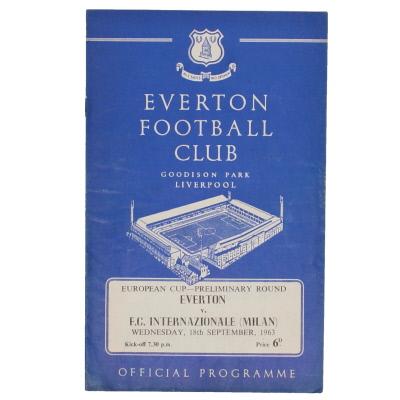 1963-64 Everton vs Inter Milan European Cup preliminary round programme