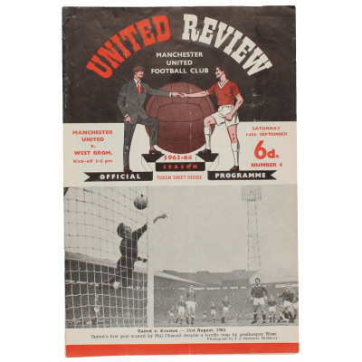 1963-64 Manchester United vs West Bromwich Albion programme, George Best Debut