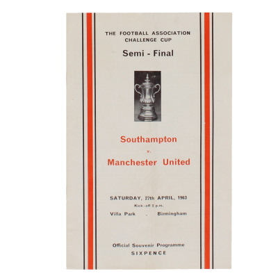 1963 F.A Cup Semi Final Southampton vs Manchester United programme