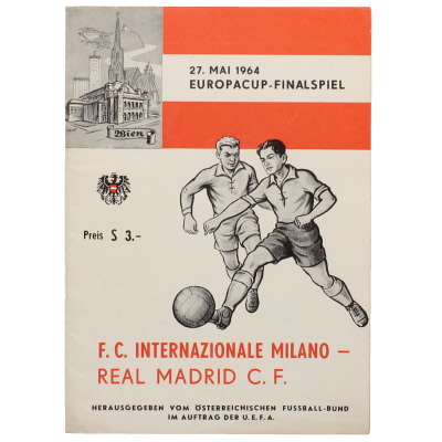 1964 European Cup Final Inter Milan vs Real Madrid programme with insert