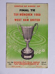 1965 European Cup Winners Cup Final 'Munich 1860 vs West Ham United' Programme