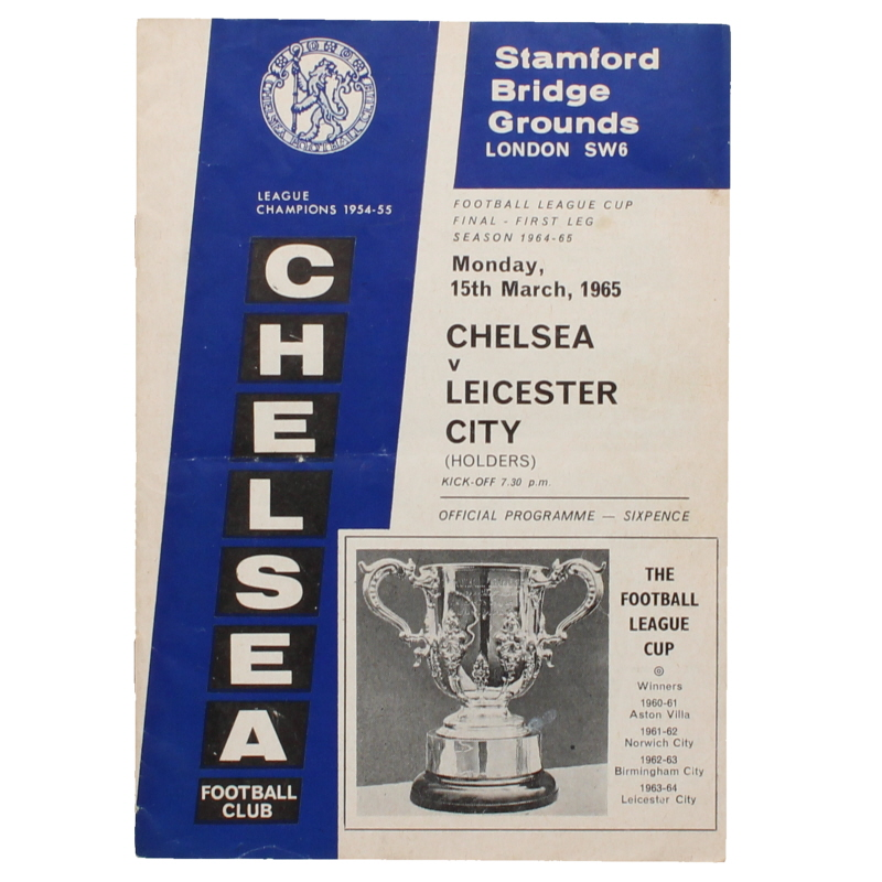 1965 League Cup Final First Leg Chelsea vs Leicester City programme