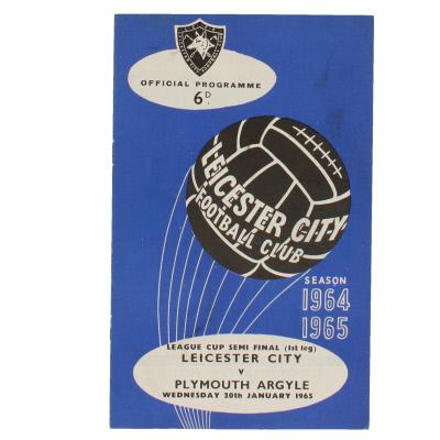 1965 League Cup Semi Final 1st Leg Leicester City vs Plymouth Argyle programme