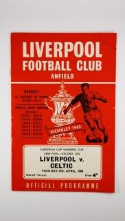1966 European Cup Winners Cup Semi Final 2nd Leg Liverpool vs Celtic programme
