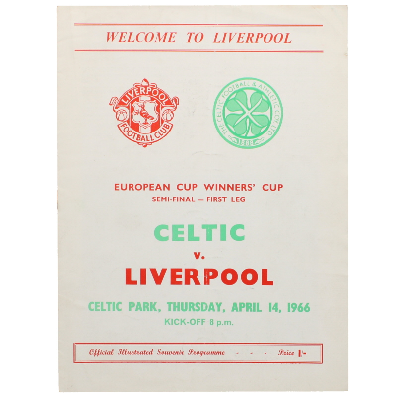1966 European Cup Winners Cup Semi Final first Leg Celtic vs Liverpool programme