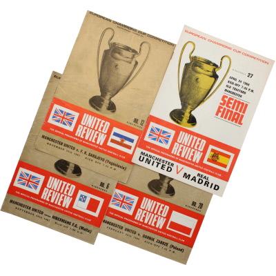 1967-68 Manchester United European Cup home programmes Hibernians, F.K Sarajevo, Gornik Zabre, Real Madrid