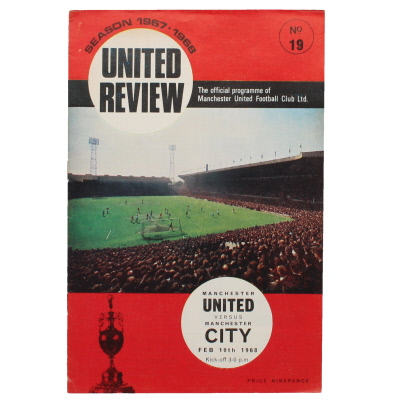 1967-68 Manchester United vs Manchester City postponed match programme