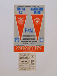 1968 European Cup Final Benfica vs Manchester United Programme and Ticket
