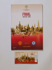 2008 European Cup Final Manchester United vs Chelsea Programme and Ticket
