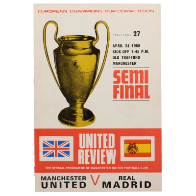 1968 European Cup Semi Final 1st leg Manchester United vs Real Madrid programme