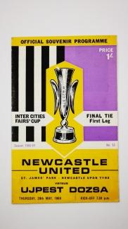 1969 Inter Cities Fairs Cup Final 1st leg Newcstle United vs Ujpest Dosza programme