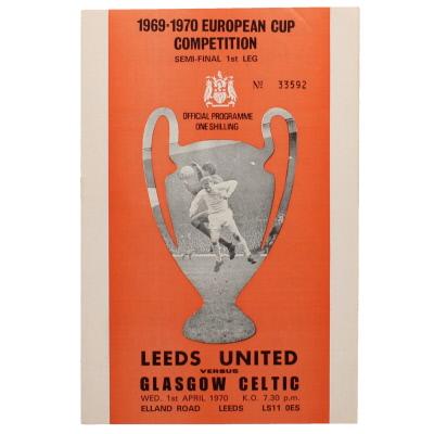 1970 European Cup Semi Final 1st leg Leeds United vs Celtic programme