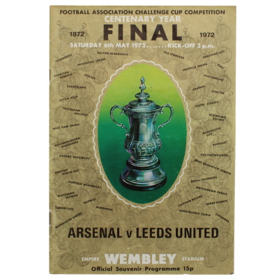 1972 F.A Cup Final Arsenal vs Leeds United programme