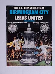 1972 F.A Cup Semi Final 'Birminhgham City vs Leeds United' Programme