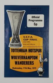 1972 UEFA Cup Final 2nd Leg Tottenham Hotspur vs Wolverhampton Wanderers football programme