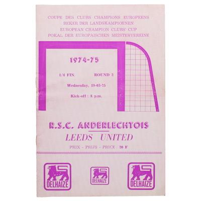 1975 European Quarter Final 2nd Leg Anderlechtt vs Leeds United programme